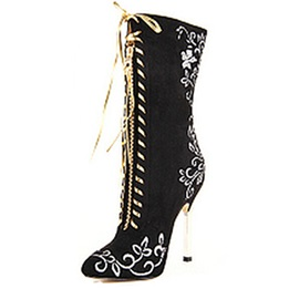 Black Print Lace-Up Stiletto Heel Boots