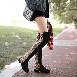 Leopard Printed Chunky Heel Thigh Boots