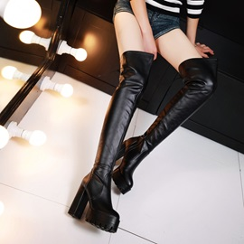 Solid Color Side-Zip Chunky Heel Thigh High Boots