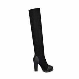 Black Lace Patchwork Chunky Heel Thigh High Boots