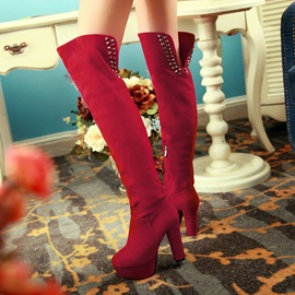 Solid Color Suede Rivets Thigh High Boots