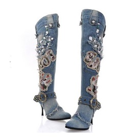 Studded Applique Pointed Toe Denim Motorcycle Boots