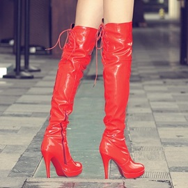 Solid Color Platform Stiletto Heel Thigh High Boots