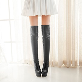 Solid Color Stiletto Heel Thigh High Boots