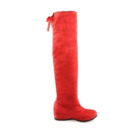 Suede Elevator Heel Thigh High Boots