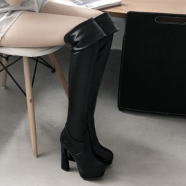 Solid Color Stretchy Thigh High Boots