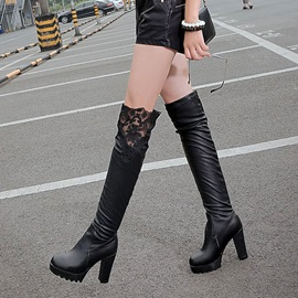 Solid Color Lace Patchwork Thigh High Boots