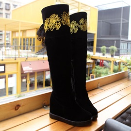 Embroidery Suede Elevator Heel Thigh High Boots