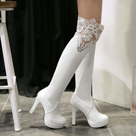 Lace Patchwork Platform Over Knee Boots