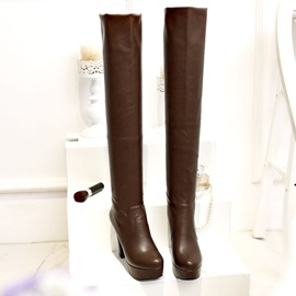 Solid Color Platform Thigh High Boots