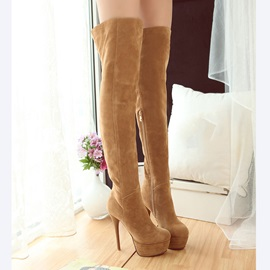 Suede Zippered Thigh High Boots