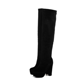 Suede Chunky Heel Slim Thigh High Boots