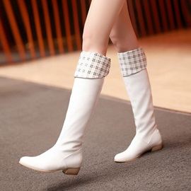 Plaid PU Square Heel Knee High Boots