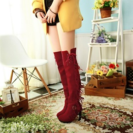 Tassels Suede Thigh High Boots