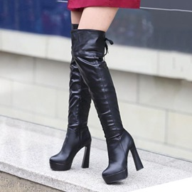 Solid Color PU Chunky Heel Over Knee Boots