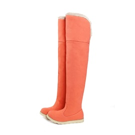 Solid Color Fold Over Thigh High Boots