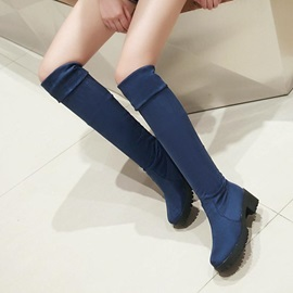 Suede Round Toe Slip-On Thigh High Boots