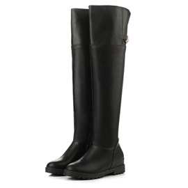 Black Buckles Slip-On Thigh High Boots