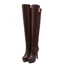 Pearl Stiletto Heel Over Knee Boots