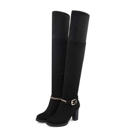 Chains Suede Chunky Heel Thigh High Boots