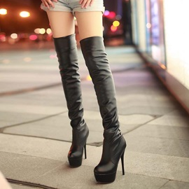 PU Stiletto Heel Thigh High Boots