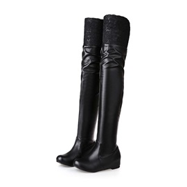 Solid Color PU Thigh High Boots