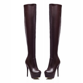 Solid Color PU Platform Stiletto Heel Thigh High Boots