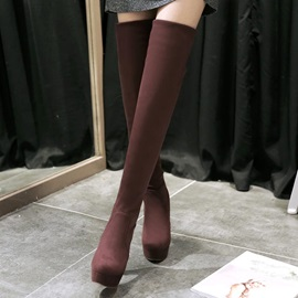 Solid Color Suede Slip-On Thigh High Boots