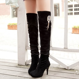 Solid Color Suede Thigh High Boots