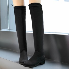 Black Suede Square Heel Thigh High Boots