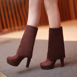 Solid Color Chunky Heel Platform Thigh High Boots