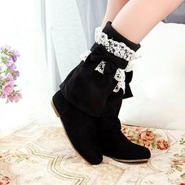 Bowknot Suede Slip-On Thigh High Boots