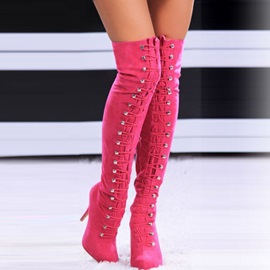 Suede Studded Stiletto Heel Thigh High Boots