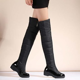 PU Patchwork Back-Zip Thigh High Boots