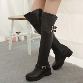Black Buckles Round Toe Riding Boots