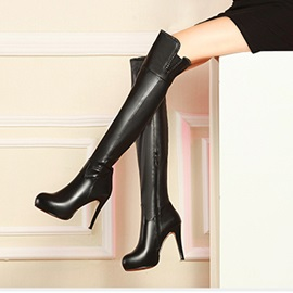 Black Zippered Thigh High Boots
