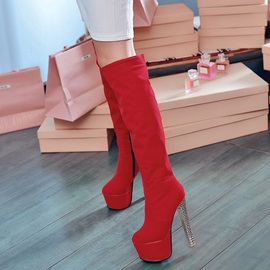 Solid Color Stiletto Heel Knee High Boots