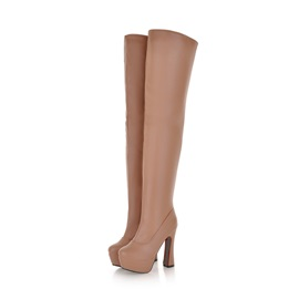 Solid Color Zippered Platform Thigh High Boots