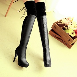 PU Patchwork Platform Thigh High Boots