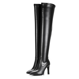 PU Pointed Toe Thigh High Boots