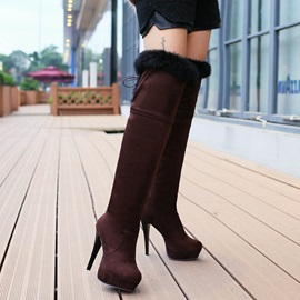 Purfle Lace-Up Back Thigh High Boots