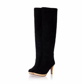 Suede Fold Over Thigh High Boots