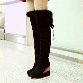 Purfle Suede Wedge Heel Over Knee Boots