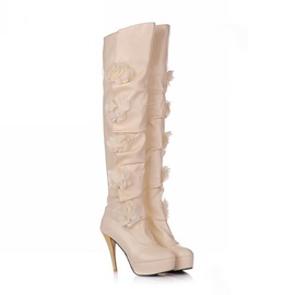 PU Applique Platform Thigh High Boots