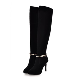 Black Suede Side-Zip Knee High Boots