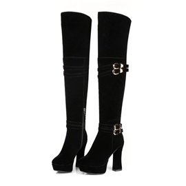 Solid Color Buckles Thigh High Boots