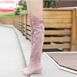 Solid Color Suede Elevator Heel Thigh High Boots