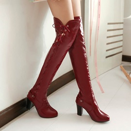 Solid Color Purfle Chunky Heel Thigh High Boots