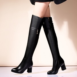 Black PU Chunky Heel Back-Zip Over Knee Boots