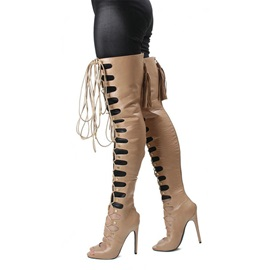 PU Peep-Toe Lace-Up Thigh Boots